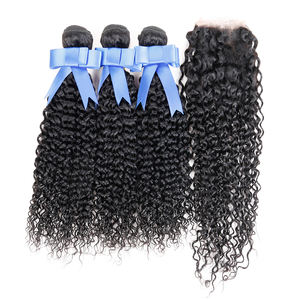 Afro Kinky แน่น Curly Remy Bundles Unprocessed Virgin Cuticle Aligned Hair curl Hair Extensions กับลูกไม้ปิด