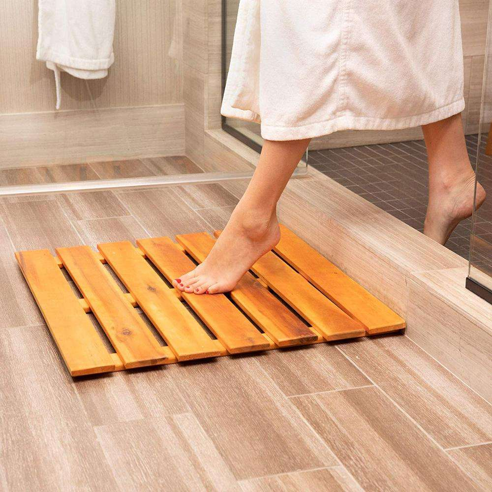Wooden Bath Mat and Outdoor Wood Shower Floor, Extra Large 24 x 24 Inches Square