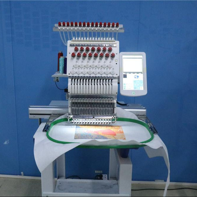 single Head Flat Computerized Embroidery Machine for Cap/T-Shirt Embroidery Free Wilcom Design Software