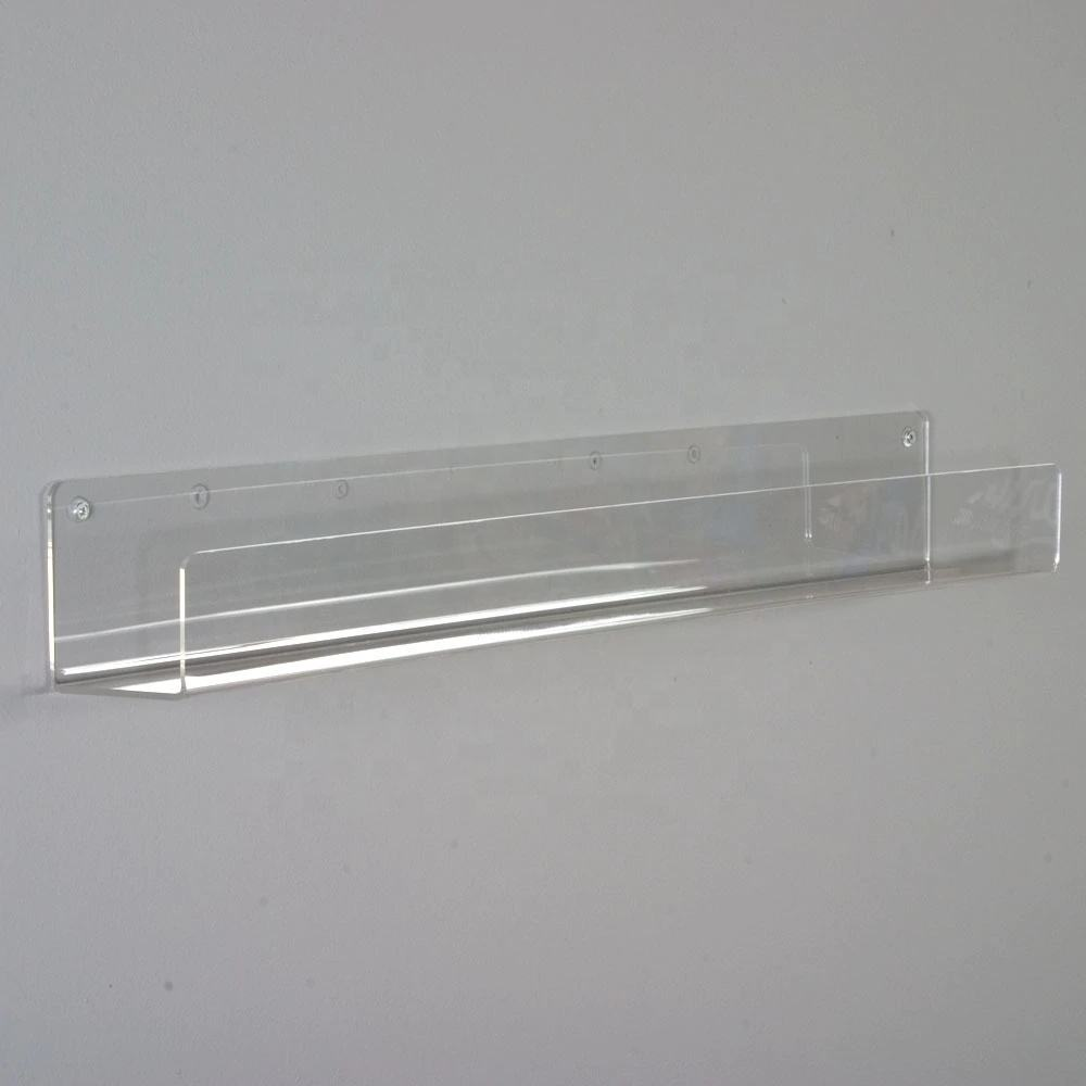 Clear Acrylic Slanted Shelf for Wall, Wall Mounted Acrylic Display Shelf