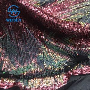 Wholesale Dress Tulle Stretch Mesh Glitter Colourful Unique Sequin Fabric 2019