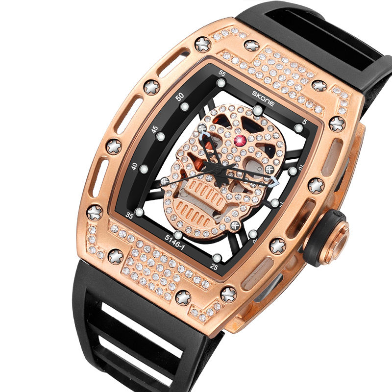 2019 New SKONE Mens Person Cranial head Watches Rectangle Dial Skull Face Men Watches Wrist Watches 3D Scrub Dial Genuine