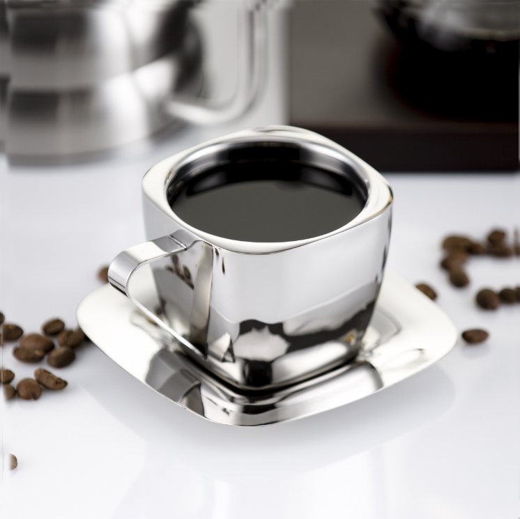 Simple Silver Stainless Steel Double Wall Metal Cup Set Creative Milk Square Mug Coffee Milk Tea Cup and Mugs