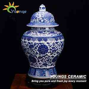Vases en céramique traditionnels chinois Antique bleu blanc pots de gingembre