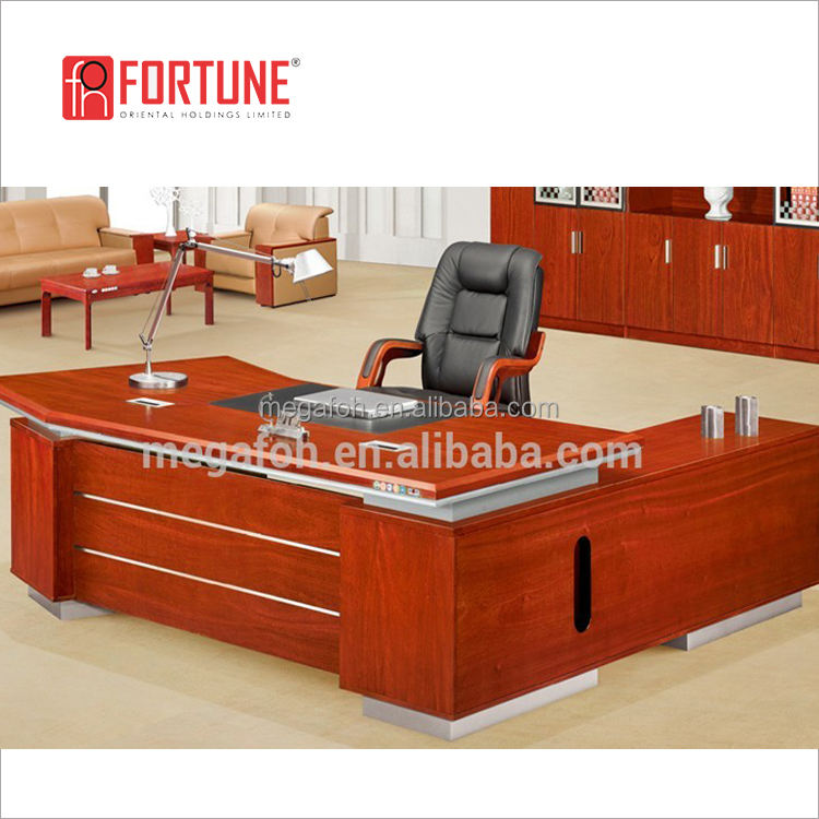 Office Furniture Package Solution Provider (FOHK-2458#) Mahogany Office Desk With Fractate Corner