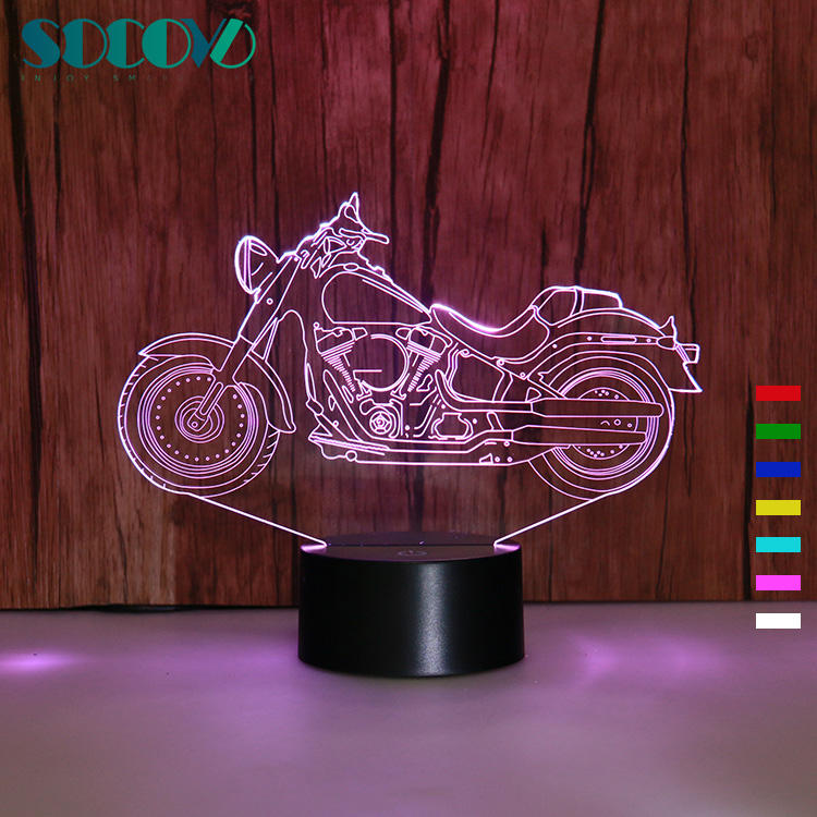 SOCOVE SC3D- 012 Color Changing 3D Harley Motorcycle Night Light for Motorbike Club Gifts