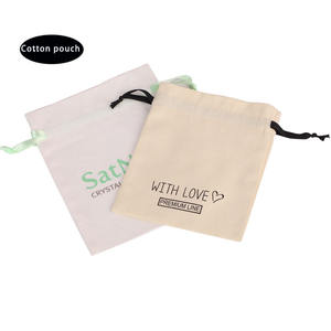 wholesale custom logo pure cotton bamboo cosmetic packaging bag muslin jewelry dust makeup pouches with silk ribbon