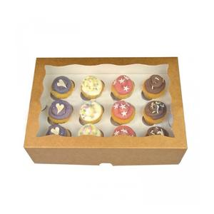 wholesale white cardboard paper packaging mini 12 cupcake box