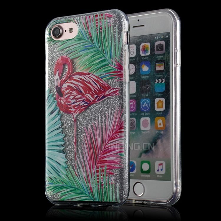 Flamingo Geschilderd Flash Poeder Papier + Harde PC TPU Slim Cell telefoon Case Voor iPhone 7 Transparant Glitter TPU PC 3 In1 gevallen