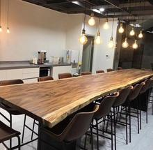Industrial furniture modern live edge slab Solid Walnut Wood Restaurant Dining Table