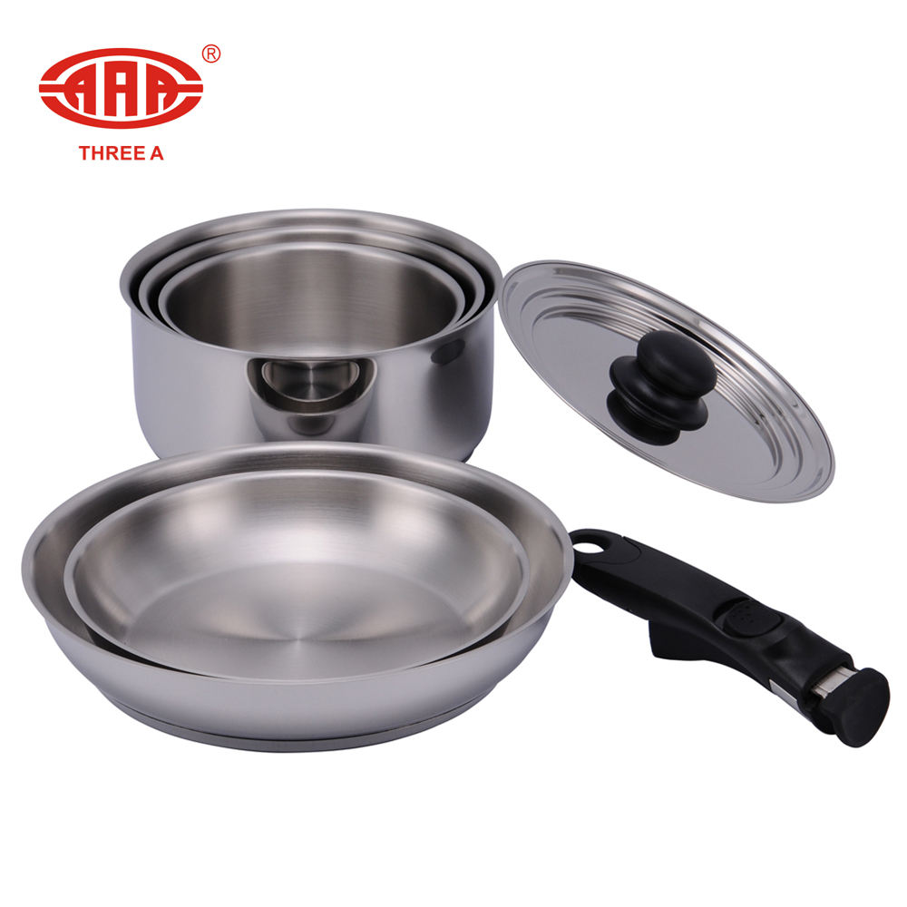 AAA cookware with detachable bakelite cookware handle & multi lid amc cookware price