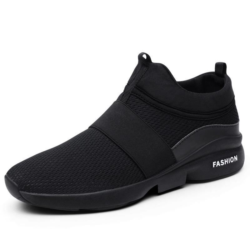 Rubber Sole Mesh Upper Breathable Durable Black Sock Sneakers Sports Shoes For Men