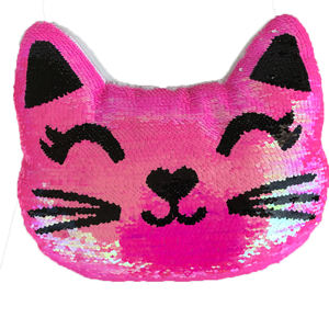 Factory wholesale high quality latest sequin decoration animal cat pillow pillow cushion