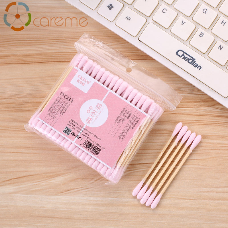 Double head colorful bamboo stick cotton bud pink cotton swab