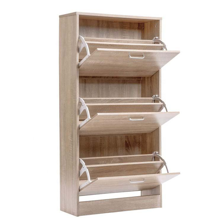Hallway modern design storage wooden shoe cabinet with clothes- hook