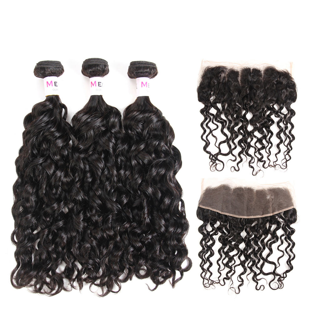 Wholesale Natural Black Virgin Cambodian Water Wave Bundles With Lace Frontal