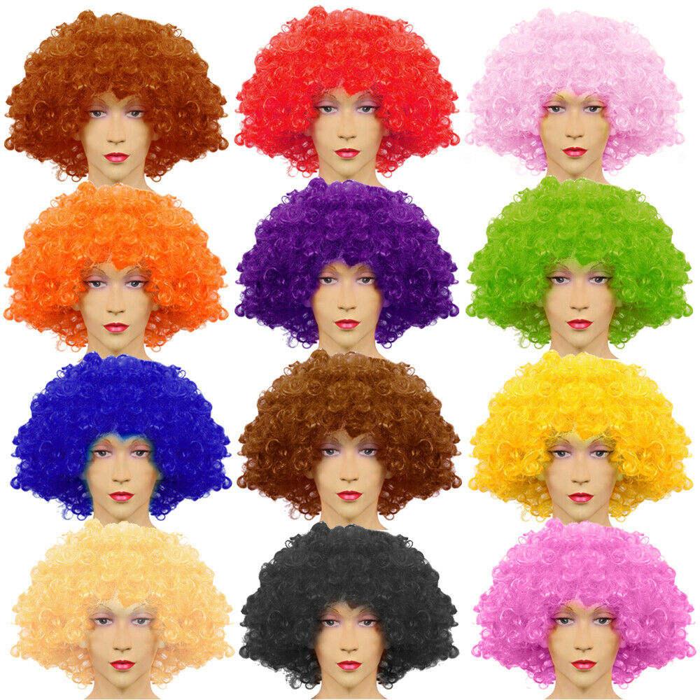 Curly Afro Disco Clown Style Wigs Fancy Dress Funky Mens//Ladies//Kids Costume UK
