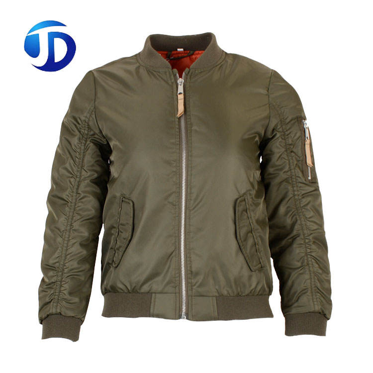Custom Wholesale Army Green Street Nylon Padding Plain Satin Bomber Jacket Men Wholesale