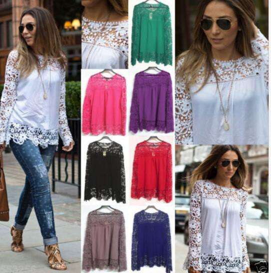 walson Fashion Women Sheer Sleeve Embroidery Lace Crochet Tee Chiffon Shirt Top Blouse