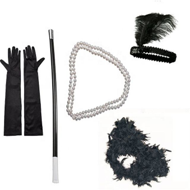 Party Neon Accessoires Dames 1920 s Flapper Girl Fancy Dress Accessoires 5 stks Sets Charleston Gangste voor Vrouwen 80 s partij Meisjes