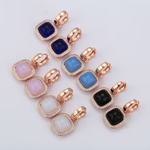 98037 Xuping gold jewellery handmade jade earrings accessories women earrings, DIY modern charm pendant earring, aretes de mujer