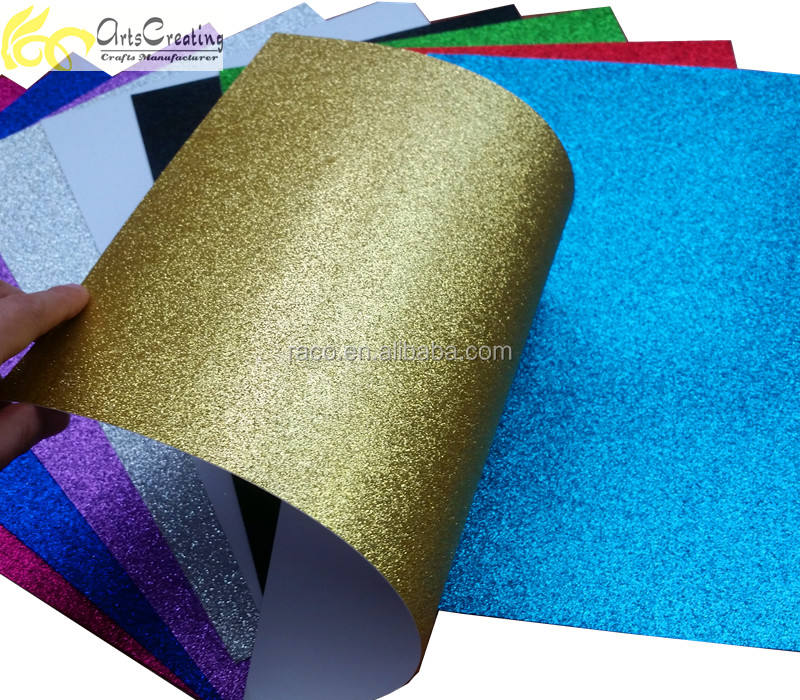 wholesale gold paper shiny color effects 350gsm glitter paper