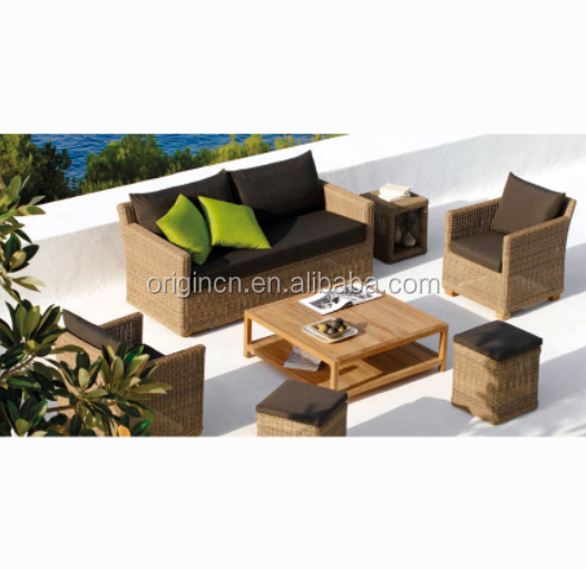 Miami holiday hotel use relaxing outdoor rattan furniture 4 seater garden fancy sofa set