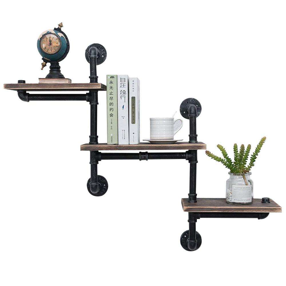 Industrial Rustic Wood Pipe Shelf Wall Mounted,Antique Metal iron Corner Hung Bracket Shelving Floating Shelves Steampunk Decor