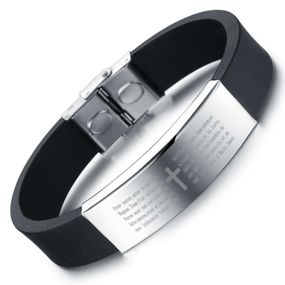 Men's Cross Wristband China Suppliers Engraved Stainless Steel Mens Thin Customized Silicone Bracelet