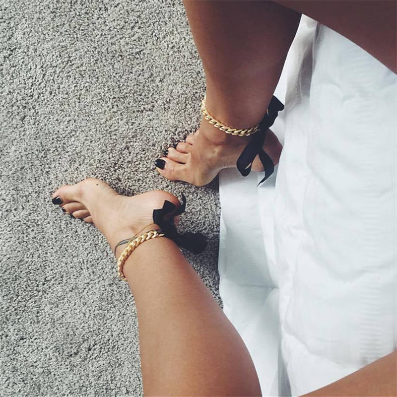 Retro Exaggerated National Style Gold Color Anklet For Women Leg Jewelry