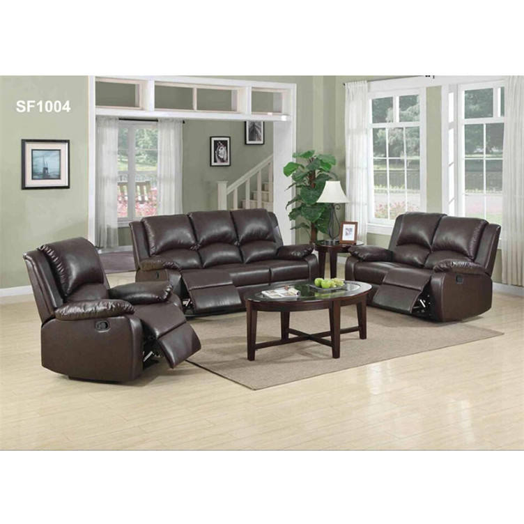 Good genuine brown leather recliners sofa recliner set