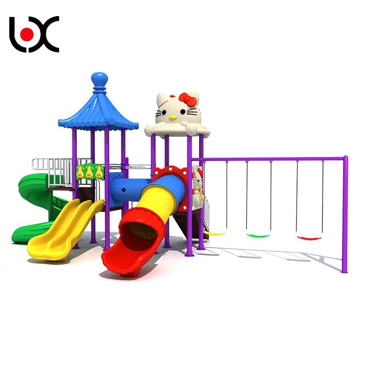 Kids sliding toys plastic outdoor playground amusement park with slide and swing equipment
