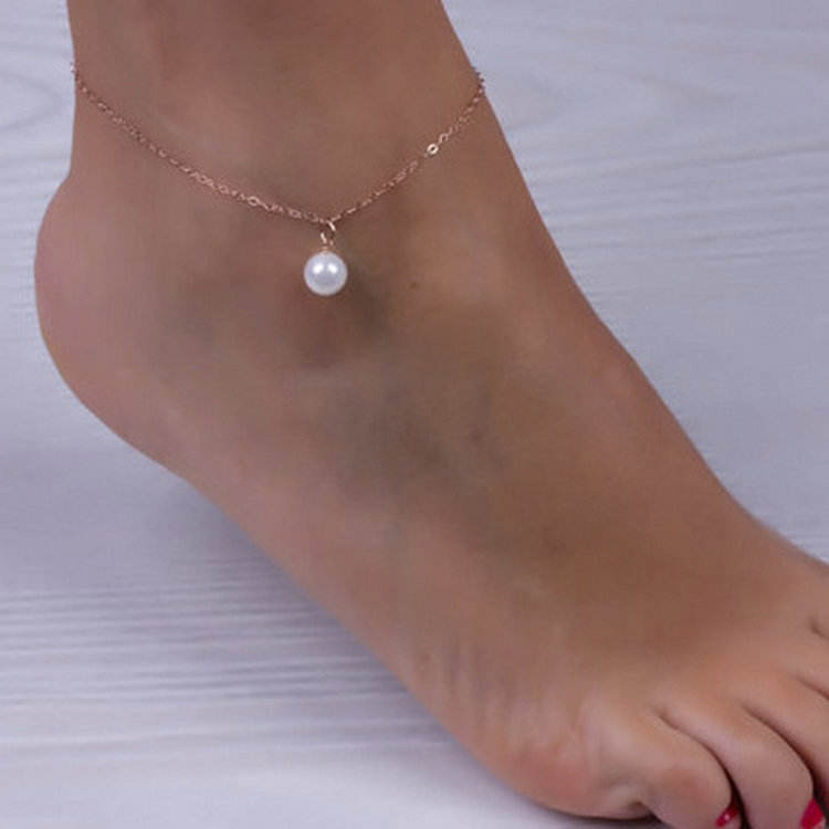 Factory wholesale sexy bijou cheap faux pearl pendant charm crystal anklet