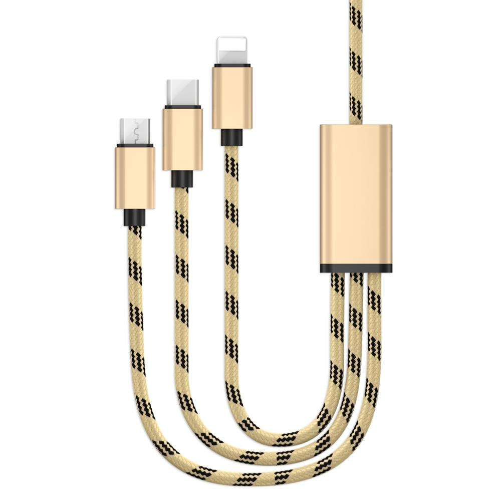 Volume Produceren 3 In 1 Multi USB Mobiele Telefoon Opladen Kabel
