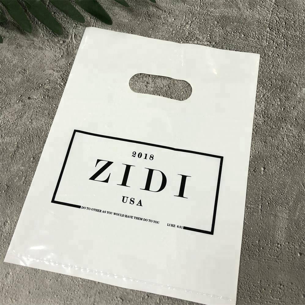 PE Plastic Packaging Bag With Handle,Custom Die Cut Gift Shopping Plastic Bag