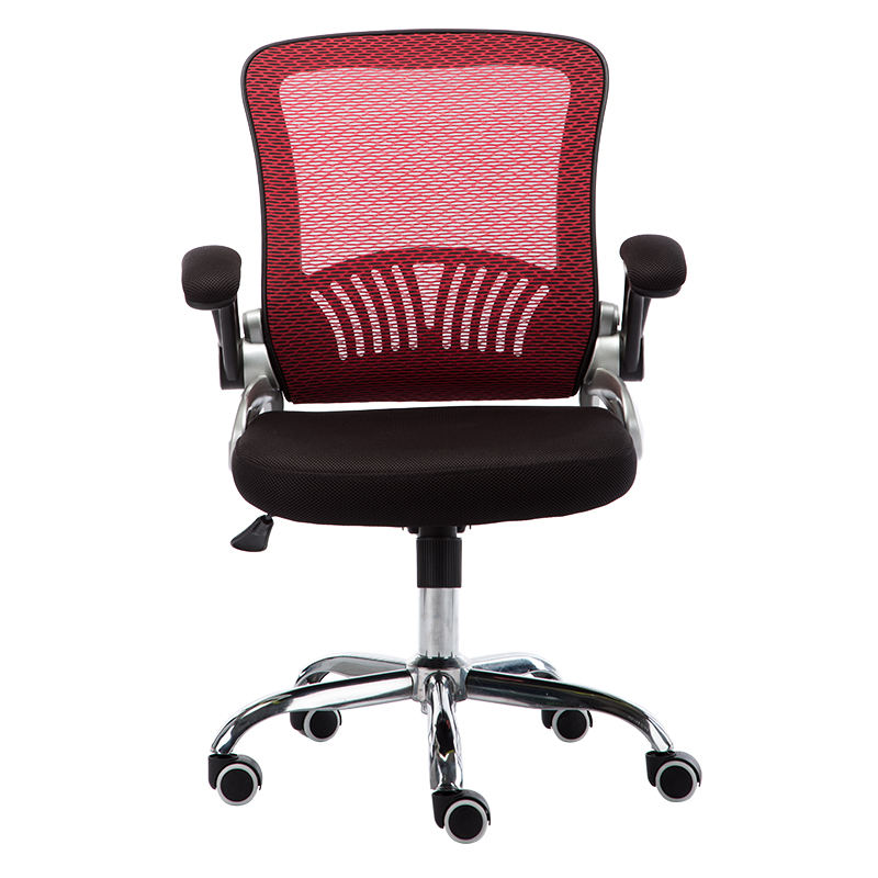 red lumbar support flip up armrest computer desk mesh back office swivel chair for gaming room