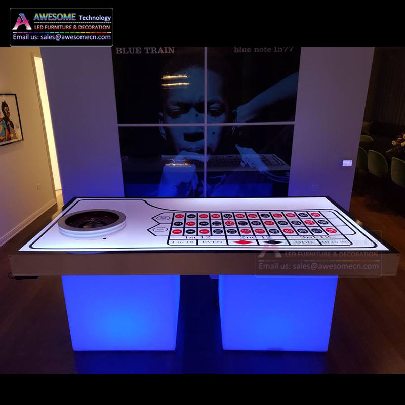 Pesta Klub Poker CASINO Roulette Meja dengan Lampu LED Base