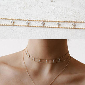 925 sterling silver copper brass factory customize professional stunning women lady jewelry star double chain choker necklace