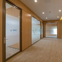 Floor To Ceiling Full Height Partition Wall Frosted Glass Interior Office Partition