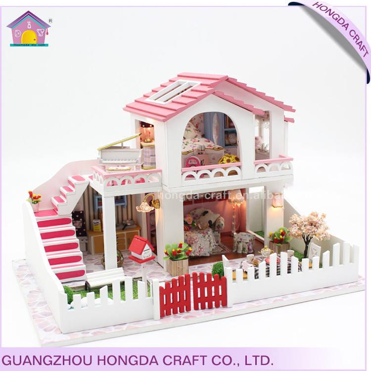 2017 Yeni varış ile ışık ve mobilya minyatür dollhouse 3d model ev kitleri