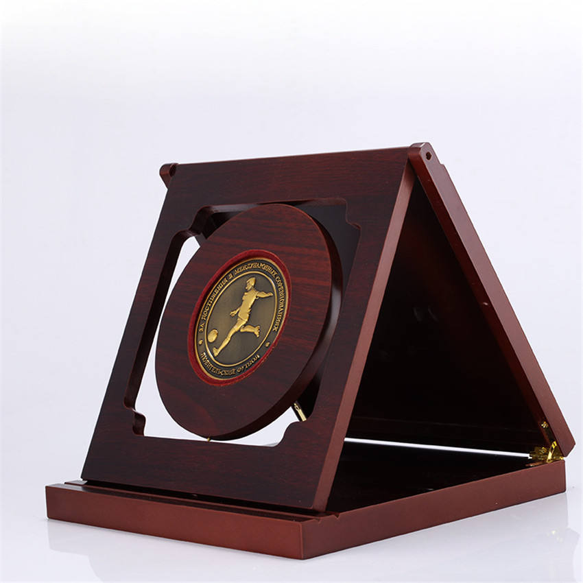 High Quality Custom Design Round Shape Plaques With Wooden Box Wholesale Wood Award Plaque Design