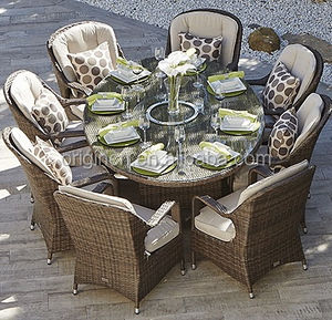 UK style classic outdoor dinner furniture set oval dining table and rattan chair wicker