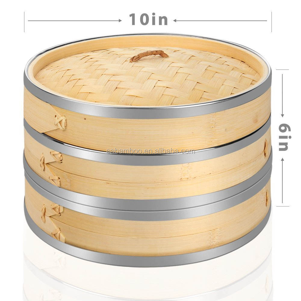 2 tier large bamboo aluminium food steamer with lid