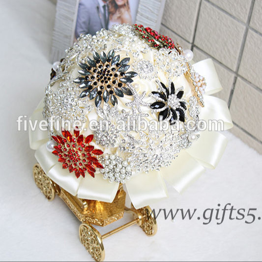 Handmade Full Pha Lê Brooch Bouquet Kim Cương Jeweled Pha Lê Bling Brooch Bouquet