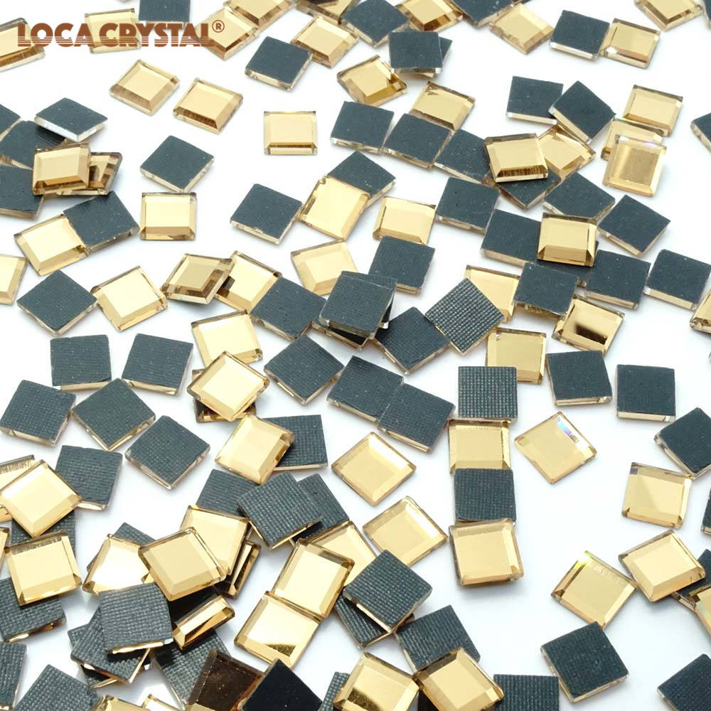 LOCACRYSTAL Brand Hotfix 4*4ミリメートルSquare Loose Rhinestone Iron On
