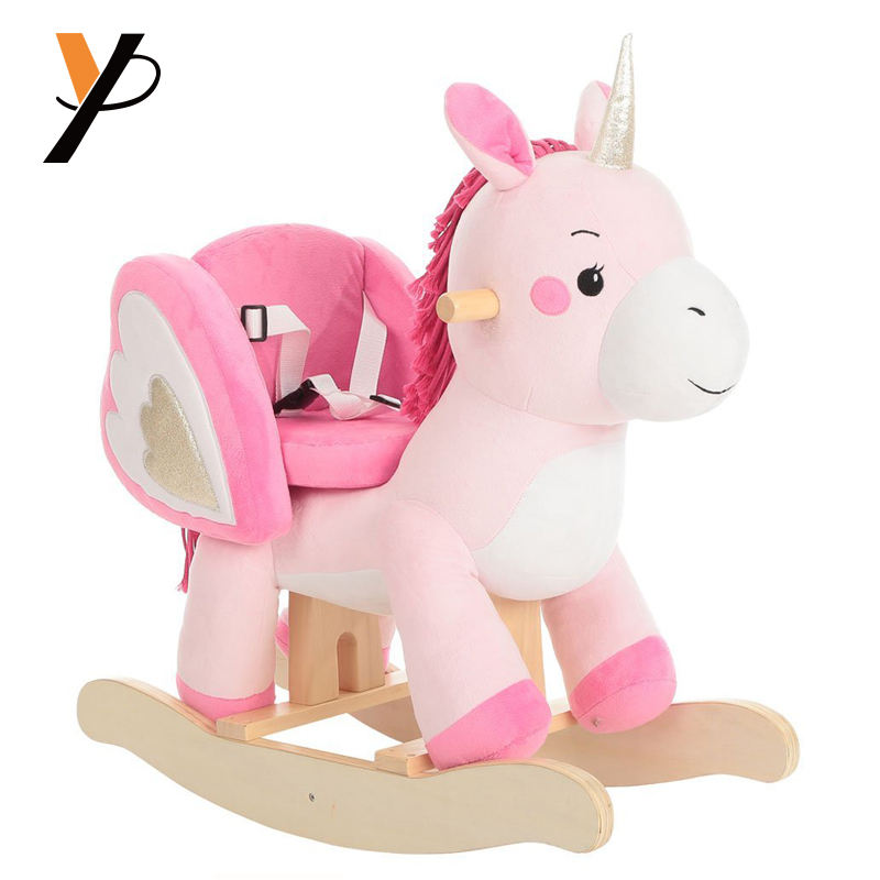 Children' gifts plush animals toys battery operated wooden rocking horse for toddler