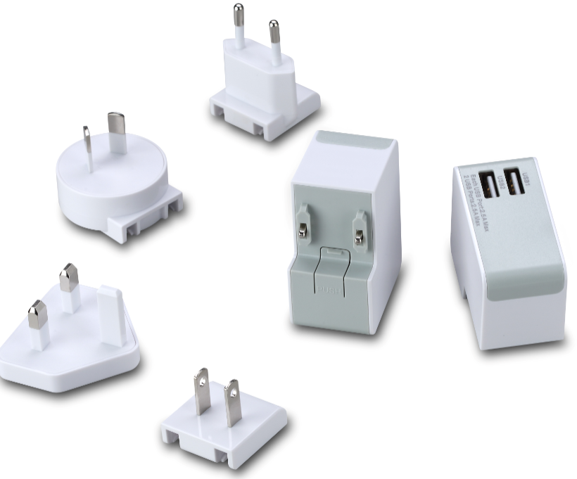 Popular Model Two USB wall Charger Output 5V2.5A travel charger with 4 plugs for Mobile phone and Tablet