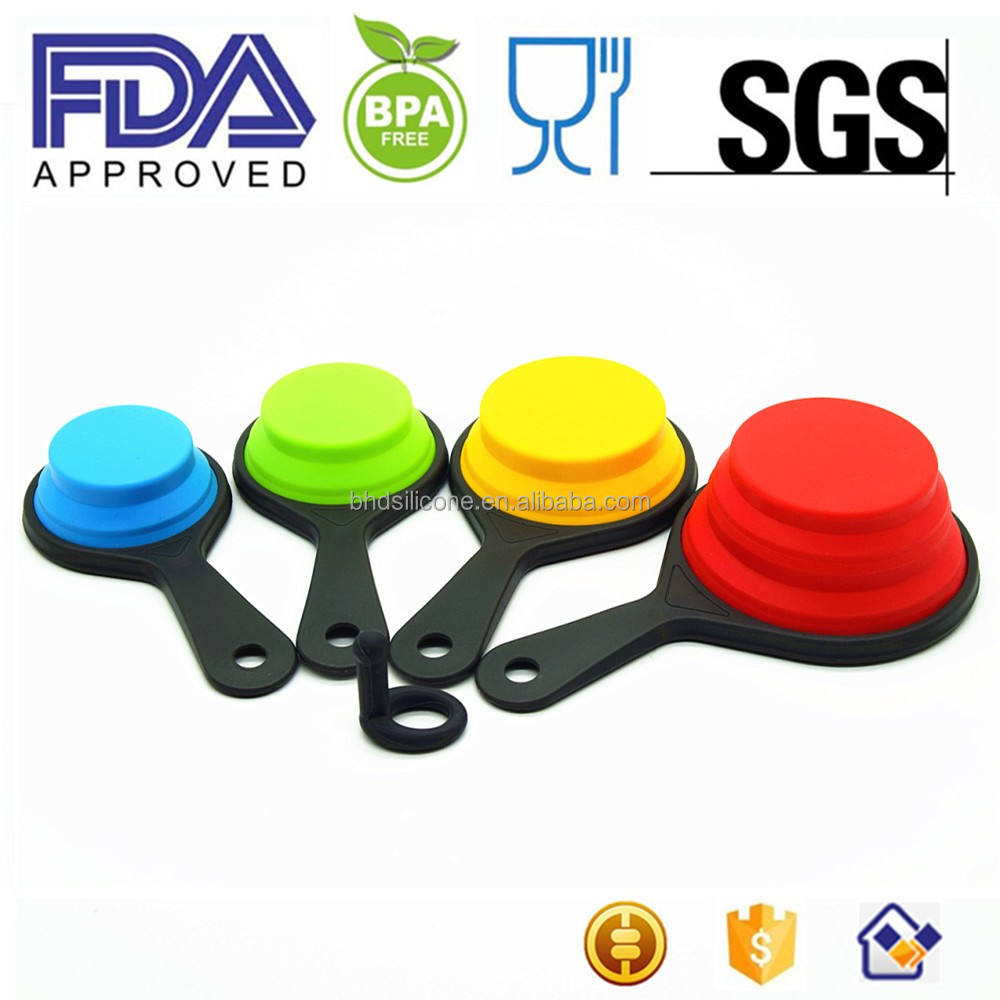 Benhaida 8 Pack Kitchen Tool Collapsible Silicone Measuring Cups And Spoons