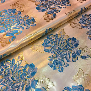 factory flower satin metallic jacquard fabric