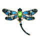 Fashion Crystal Insect Metal Badge Dragonfly Shape Custom Rhinestone Lapel Pins